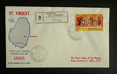 St. Vincent 1977 Registered Greggs Silver Jubilee First Day Cover A142