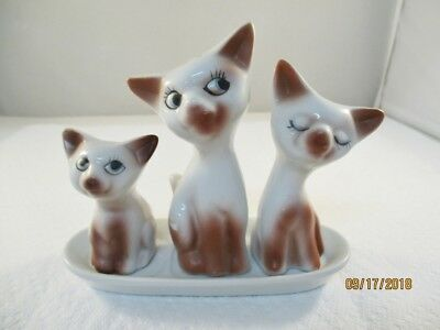 Vintage Siamese Cat Salt and Pepper Shakers and toothpick holder