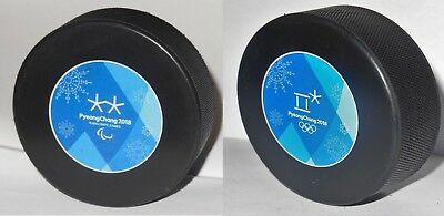 2x pucks ORIGINAL MEN´S hockey game puck OLYMPIC / PARALYMPIC GAMES 2018 Korea