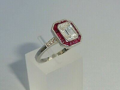 Ladies Art Deco Halo Style 925 Sterling Fine Silver Ruby White Sapphire Ring