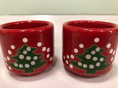 2 Vintage Waechtersbach  Red Christmas Tree Candle Stick Holders