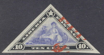 "Liberia 1909, 10c triangle official, IMPERFORATE, TRIPLE ""OS"" #O62"