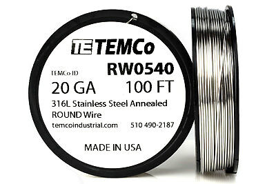 TEMCo Stainless Steel Wire SS 316L - 20 Gauge 100 FT Non-Resistance AWG ga