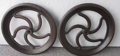 Pair Antique Cast Iron Wheels Gears Pulleys Machine Age Industrial 13 3/4""