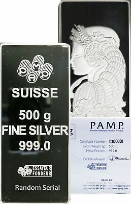 500 Gram PAMP Suisse Lady Fortuna 1/2 kg Kilo .999 Fine Silver Bar In Assay