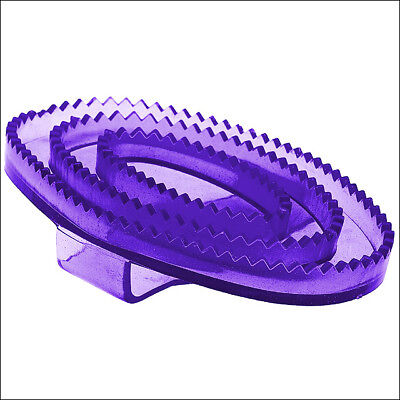 Horze Western Tack Flexible Rubber Horse Transparent Curry Comb Small Purple