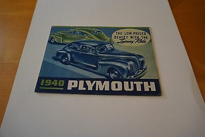 "1940 Plymouth Luxury Ride Roadking Fold-Out Poster Brochure 25"" x 16.5"" GOOD"