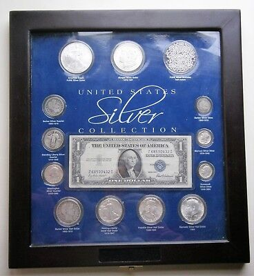 United States Silver Collection in Display Case with 12 Silver Coins + more