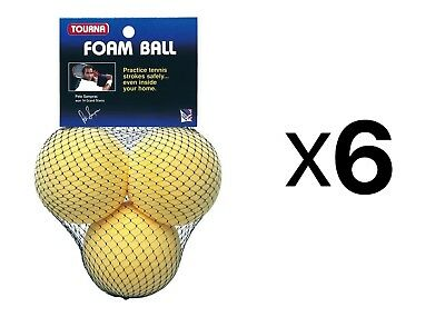 Tourna Foam Tennis Practice Youth Balls, Kids Training Aid-3 Pack (6-Pack)