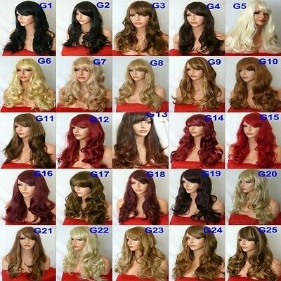 Real Natural Curly Wavy Light Blonde Plum Red Burgundy Ombre Women Fashion WIG G