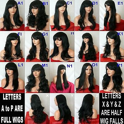 Adult Women long red black brown ash highlight curly straight wavy Halloween wig