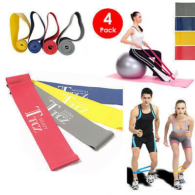4pcs Resistance Loop Band  Fitness Training Strength Exercise Yoga Rubber Band