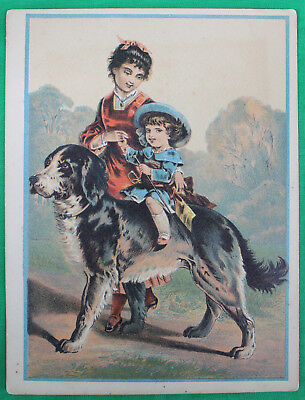 Original Vintage Star Soap Victorian Advertising Card #2 Child Riding a Dog