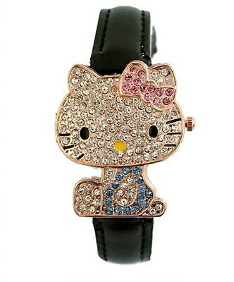 Hello Kitty Cz Icedout Girls Teens Kids Flip Watch 3-5 Day Free Shipping