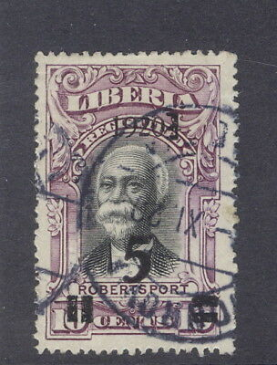 Liberia 1920, 5c on 10c Robertsport regis., left quad is UPRIGHT, used #182