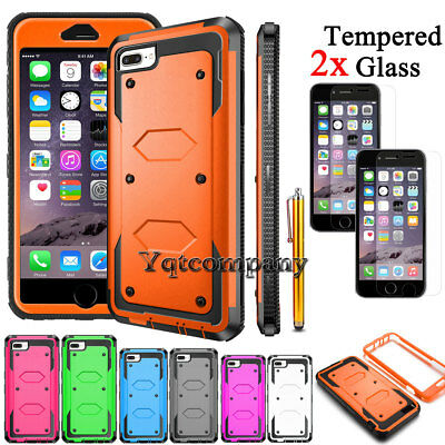 Case For iPhone 8 Plus 7 6S 5S SE Hybrid Cover + Tempered Glass Screen Protector