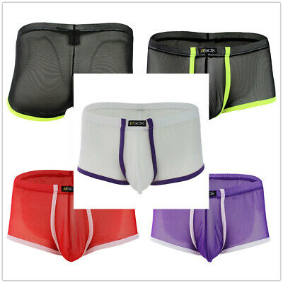 Men Boxer Breifs Super Thin Mesh Sheer Bulge Pouch Underwear Trunks Shorts M-XL