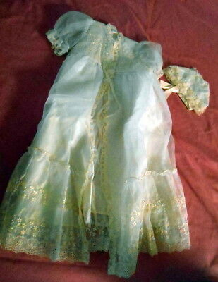 Vintage Phyliis Washable Baptism Christening Gown and Hat White