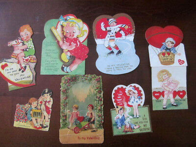 Lot of 7~Antique VALENTINE'S DAY Cards~1920-30s Germany Folding~Stand Up~Hearts