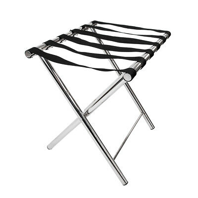 Luggage Rack Stand Suitcase Rack Folding Nylon Belt Hotel Bedroom Chrome