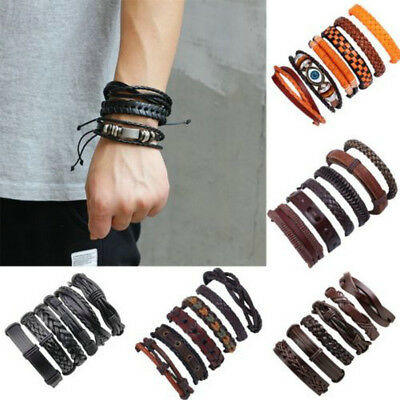 6pcs Mens Fashion Punk Leather Wrap Braided Wristband Cuff Punk Bracelet Bangle