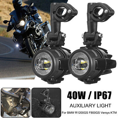 2PCS Spot LED Auxiliary Fog Light Lamp Motorcycle Black For BMW R1200GS F800GS