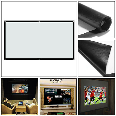 "100""Inch Projection Projector Screen Fabric 16:9 Portable Cinema Theater Matte"