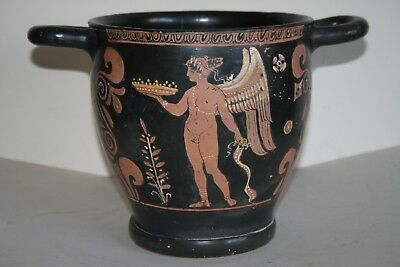 ANCIENT GREEK POTTERY RED FIGURE SKYPHOS 4th CENT BC