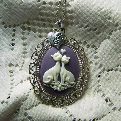 Two LOVE Cats Pendant, Purple Cats & Heart Large Cameo Necklace, Cat Lover Gift