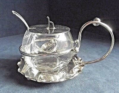 SUPERB ~ SILVER Plate & GLASS ~ Pickle JAR & SPOON ~ c1900