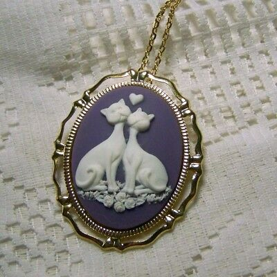 LOVE CATS Pendant & Brooch, Cat Cameo Necklace, Two Cats, Hearts, Cat Lover Gift