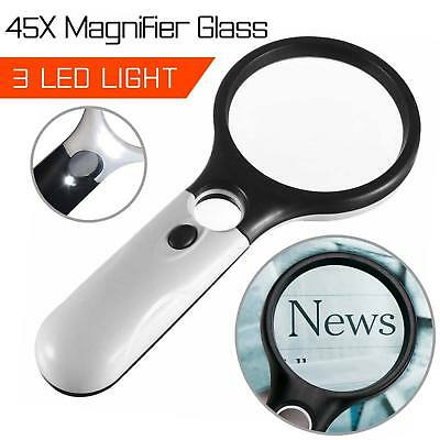 3LED Light 45X Handheld Magnifier Reading Magnifying Glass Lens Jewelry Loupe US