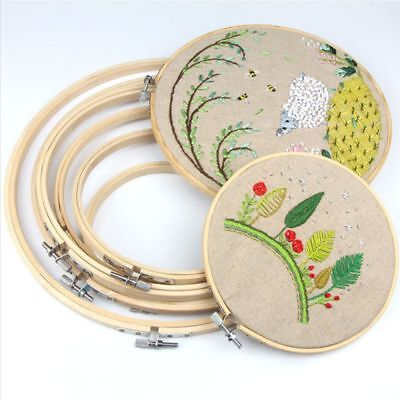 Wooden Cross Stitch Machine Embroidery Hoop Ring Bamboo Sewing 12-30cm