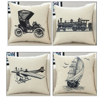 Sketch Carriage Boat Pattern Pillow Cases Cushion Covers Home Decoration B