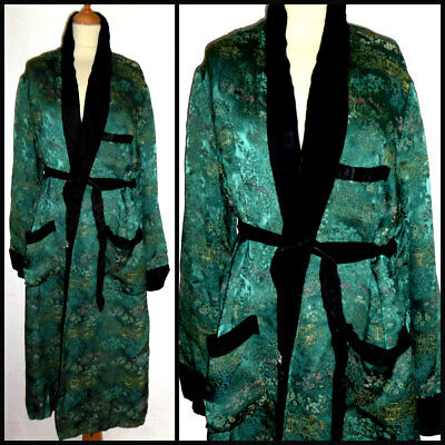 "Vintage 60S Chinese Silk Brocade Smoking Jacket Robe Dressing Gown Med 42"" Mod"