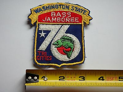 "Washington Bass Jamboree 1976 Fishing Patch Excellent Condition 3 1/2"" X 3 3/4"""