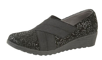 Womens Ladies Wide E Fit Elastic Suede Leather Low Wedge Heel Shoes Black 3-8