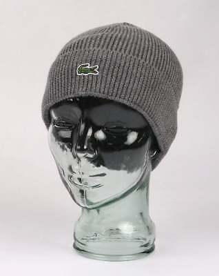 13f20aa8d77 LACOSTE RIBBED WOOL Beanie Hat with Turn Up in Grey - £35.00 ...