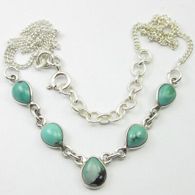 """925 Solid Sterling Silver Blue & Green TURQUOISE Stone Necklace 17.5"""""""