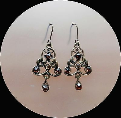 Vintage Flowers Dangle Earrings with Smoked Topaz Australia Crystals E1314