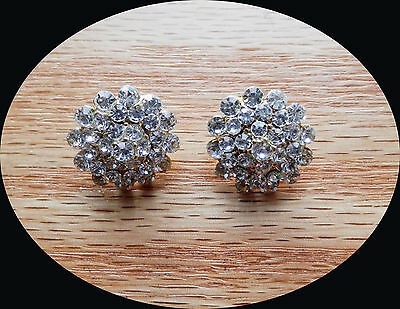 Vintage Flower Stud Earring with Clear Australia Crystal Gold Tone E6A73