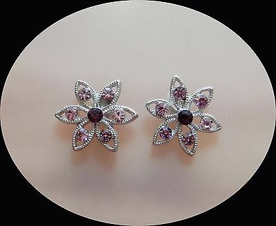 Vintage Flowers Stud Earring with Amethyst Australia Crystals E6A74
