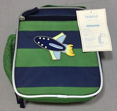 "962a0eb9f902d3 Pottery Barn Kids Navy/Green Stripe Fairfax Classic Lunch Bag ""Space Ship"