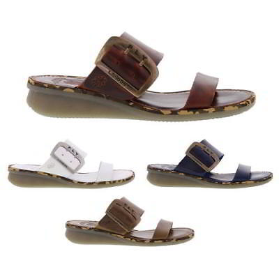 ebf2586cd2b9 Fly London Cape Womens Black Blue Brown White Leather Wedge Sandals Size 4-8