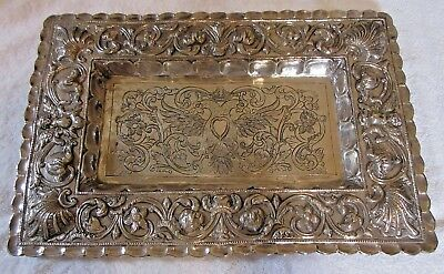 Ilaria Engraved 925  Sterling Silver Tray 16 3/4 X 10 5/8 X 1 1/8 In 1210 Grams