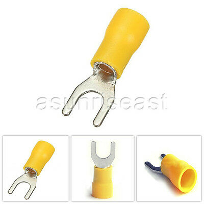 500 × Yellow 12-10AWG #8 Stud Insulated Spade Fork Terminals Connector SV5.5-4S