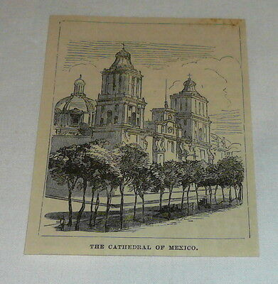 1878 small magazine engraving ~THE CATHEDRAL OF MEXICO