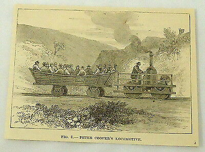 small 1887 magazine engraving ~ PETER COOPER'S LOCOMOTIVE