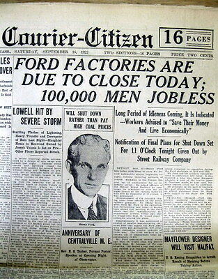 1922 newspaper HENRY FORD closes MOTOR COMPANY factory  LAYS off 100,000 workers