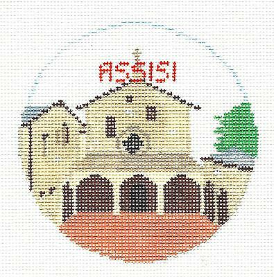ASSISI, ITALY  elegant handpainted Needlepoint Canvas by Kathy Schenkel RD.